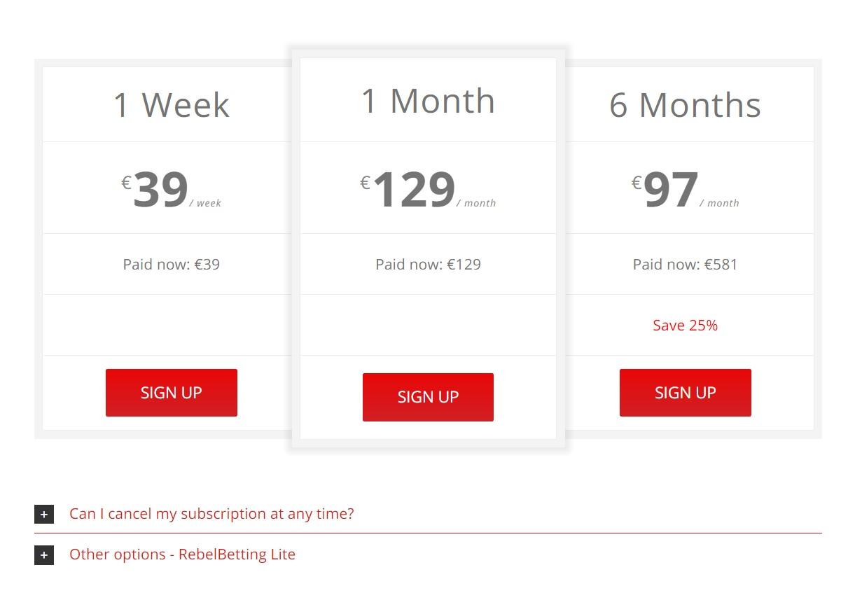 RebelBetting стоимость платной подписки